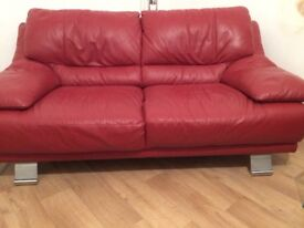 Leather sofas- red. 2+3 seater by Reid's