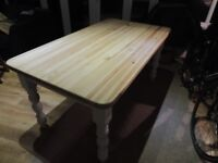 Farmhouse Table - solid pine with sanded and waxed top - seats 6