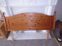 DOUBLE HEADBOARD 4FT 6 INCHES SOLID PINE NICE CONDITION