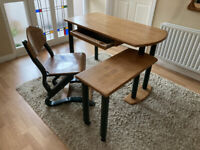Desk and chair - solid wood