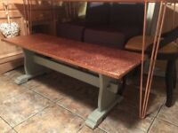shabby chic copper top solid oak coffee table/bench farrow and ball