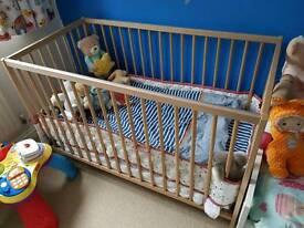 Ikea cot SNIGLAR + Mattress + Bed sheets