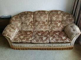 3 Piece suite. Sofabed + 2 armchairs (1 with foot rest)
