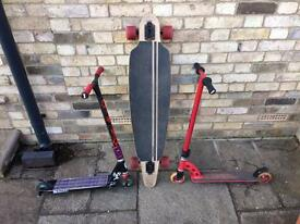 Stunt scooters and longboard