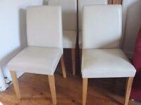 4 X Dining Chairs - Cream & oak