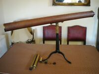Late 19th Century Brass Mounted Mahogany Astronomical Telescope