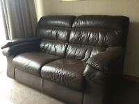 Brown leather 2seater couch,