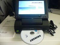"Sony MV=65ST Portable DVD Player 6.5"" Tilt Swivel Screen Remote Leads Complete"