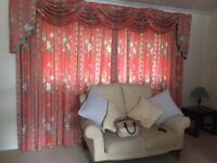 Curtains, full length, excellent condition with matching pelmet.
