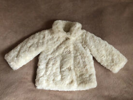 Stunning cream coat for girl 12-18 months. Ideal for wedding, christening, party