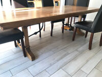 Large solid wood Dining Table (& free chairs)