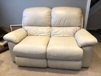 Two 2 seater leather recliners with reclinging single armchair