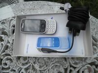 Nokia classic silver 6303i, Nokia charger, data cable usb, booklet