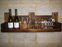 Rustic Wall Mounted Wine / Glass Shelve !!!!