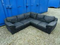 Large Black/Very Dark Blue Corner Sofa *Good Clean Condition,Delivery Available*