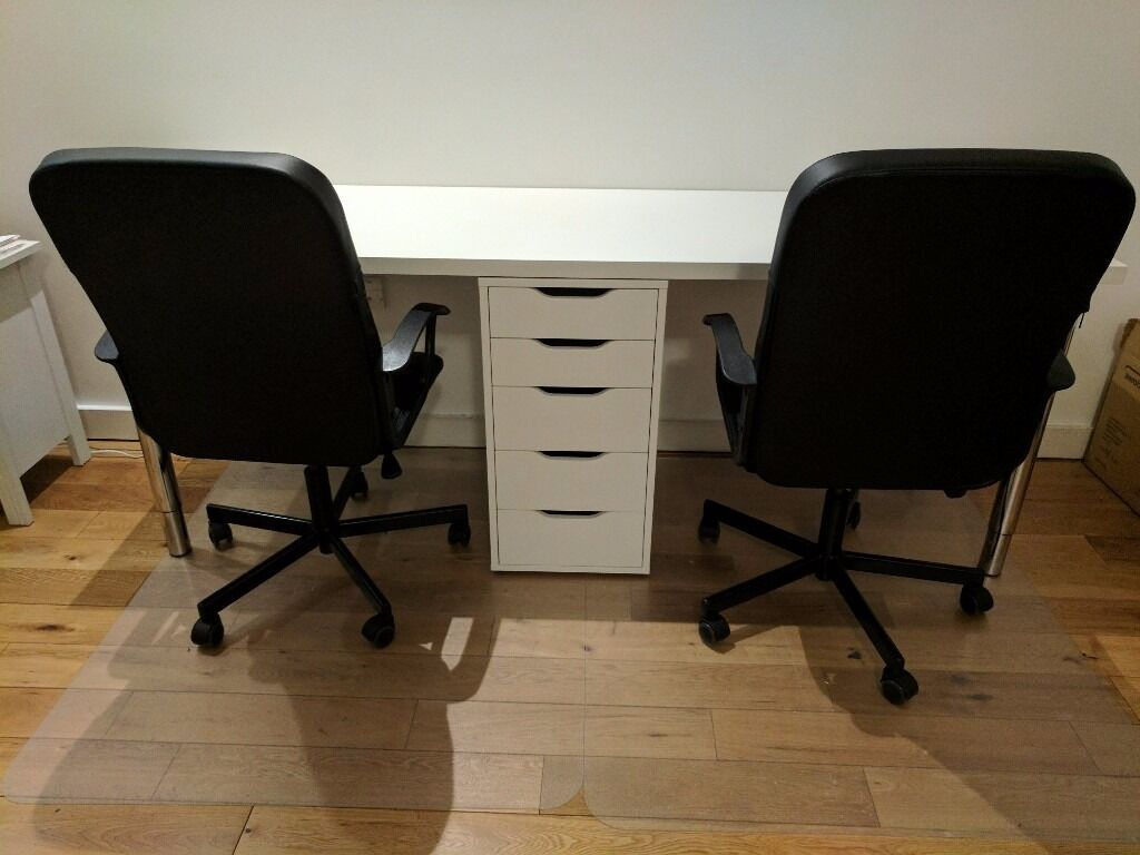 2 person office desk with matching drawer ikea alex for Ikea office desk chair