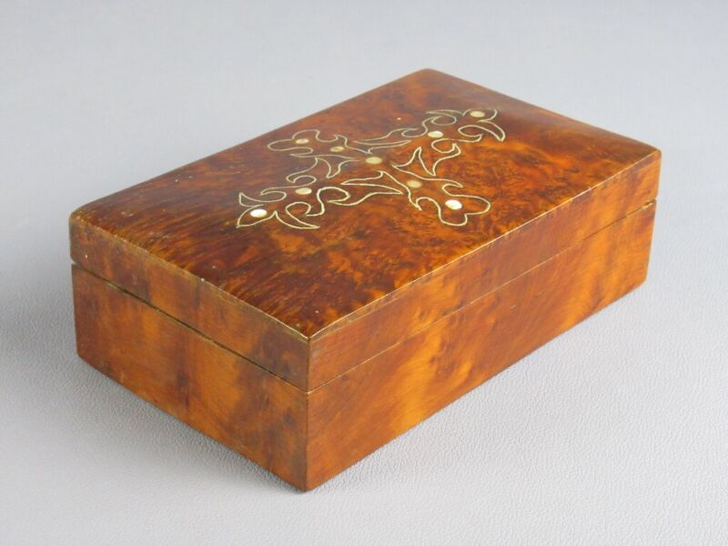Vintage Box Wooden & Briar With Decoration Inlaid