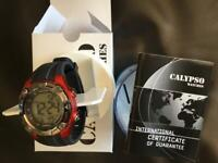 CALYPSO CHRONO DIGITAL SPORT YOUTH WATCH, BLACK AND RED, IN PACKAGING, NEVER WORN