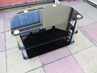 3 Tier Smoked Glass TV Stand - Good Condition - COLLECTION ONLY PLEASE