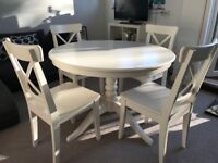 Extendable Table and matching Chairs available for SALE (white color) - great condition & single use
