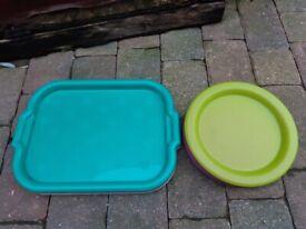 Plastic Trays x 4 & Plates x 12