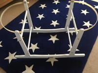 White wooden rocking moses basket stand