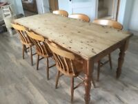 Rustic country dining table & 6 chairs