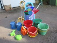HUGE FAMILY SET OF BUCKETS & SPADES with rakes, watering can etc SET OF STILTS & BIG BEACH BALL too!