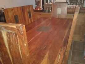 Solid Wood Dining Table & 8 High Back Chairs