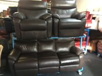 New/Ex Display Brown Lazyboy Leather Recliners 3 + 1 + 1 Seater Sofas