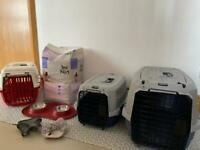 Puppy starter pack, crates, bowls, harness, pads
