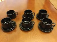 Set of Black Teacups and Saucers (6 cups, 5 saucers) in very good condition
