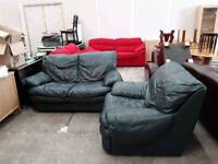 Green Two Seat Sofa With Arm Chair- Sold As Set - Delivery Available