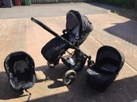 Kiddicare Iona travel system with carrycot, pushchair and car seat