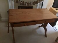 Light Wood Extendable Desk with Two Draws - COLLECTION ONLY