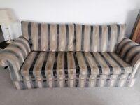 Beautiful large 3-4 seater Sofa, Chocolate, gold & grey fabric and velvet
