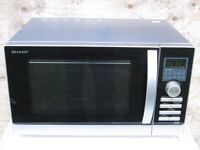 Sharp R842SLM - Combination Microwave Oven - Silver/Black, 25L 900W Working Order Clean Condition
