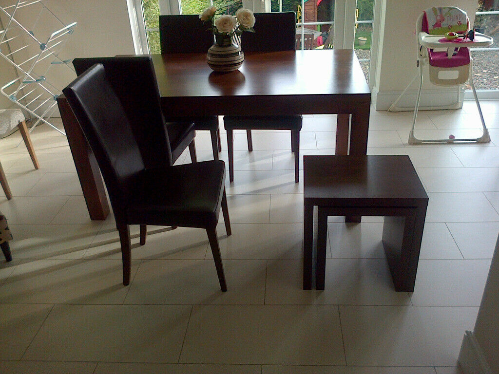 Next dark wood dining table and 4 chairs also table nest for Dining room tables on gumtree