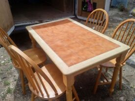 Tiled dining/kitchen table with 4 chairs