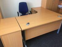 Desk, chair and 3 drawer pedestal