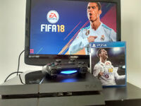 PS4 CONSOLE WITH WIRELESS CONTROLLER AND FIFA 18 GAME DISC
