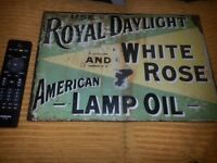 Antique enamel sign royal daylight lamp oil 1930s rare