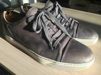 Luxurious Lanvin mens grey leather sneakers, 43/uk9, RRP £420