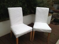 2 Dining Chairs with White Washable Covers