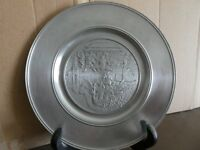 Pewter Hong Kong plate with display stand