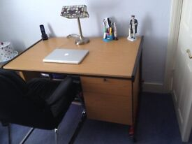 DESK WITH 2 DRAWER PEDESTAL AND CHAIR IN SUPERB CONDITION TO SUIT HOME OFFICE OR CHILD'S BEDROOM