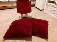 Table lamp and cushions