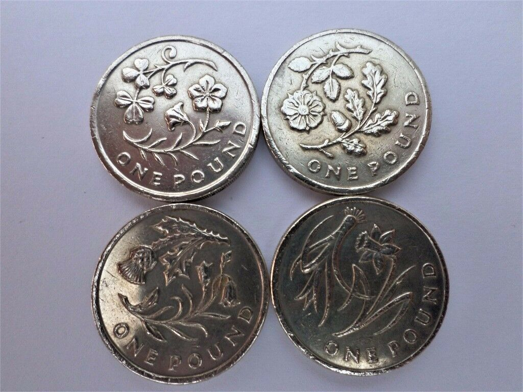 Set Of the 4 Floral Emblems - England - Ireland - Scotland - Wales - One Pound Coin - Circulated