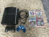 PS3 Bundle - Black Console x2 Controllers and 4 Games