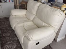 Italian White Faux Leather Recliner Sofa